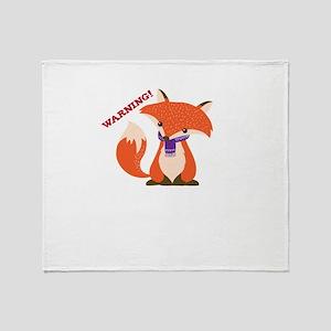 Warning Sarcastic Fox Canidae Carniv Throw Blanket