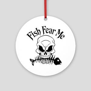 Fish Fear Me Skull Ornament (Round)