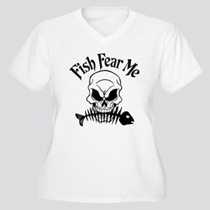 Fish Fear Me Skull Women's Plus Size V-Neck T-Shir