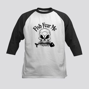 Fish Fear Me Skull Kids Baseball Jersey