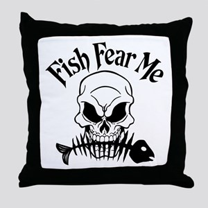 Fish Fear Me Skull Throw Pillow