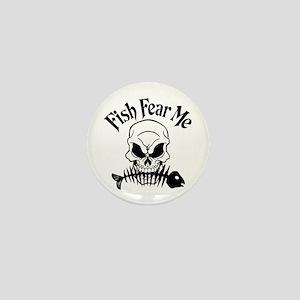 Fish Fear Me Skull Mini Button