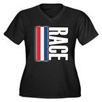 Race RWB Women's Plus Size V-Neck Dark T-Shirt