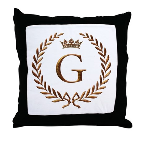 Monogram Letter Throw Pillow : Napoleon initial letter G monogram Throw Pillow by jackthelads