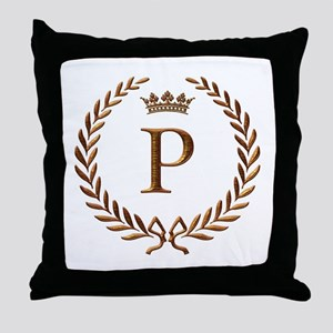 Napoleon initial letter P monogram Throw Pillow