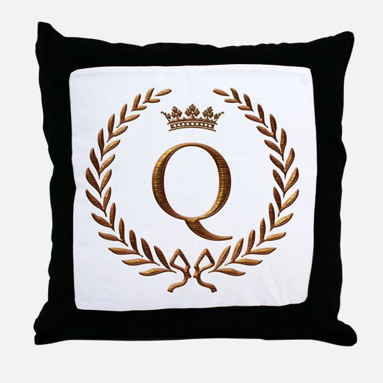 Napoleon initial letter Q monogram Throw Pillow