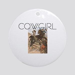 TEE Old School Cowgirl Ornament (Round)