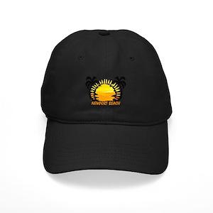 Newport Beach Black Cap With Patch - CafePress 07c1be26d02b