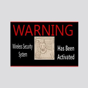 WARNING-Wireless Security Doberman Rectangl Magnet