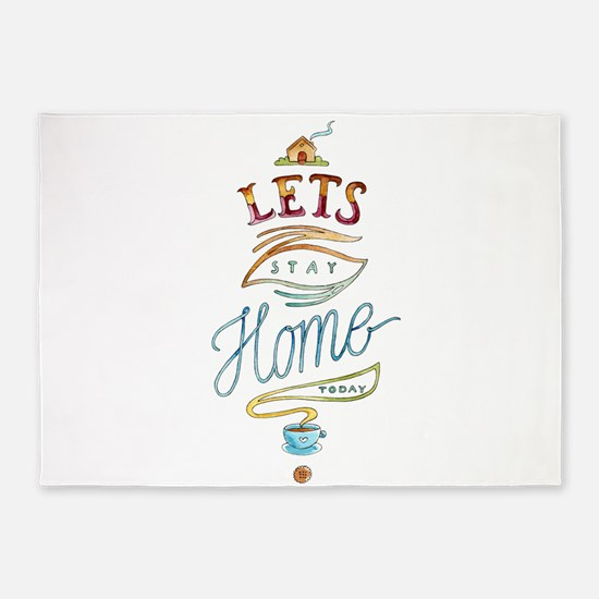 Let's stay at home-Motivation 5'x7'Area Rug