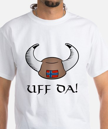 Uff Da! Viking Hat White T-Shirt