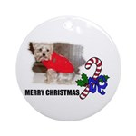 MERRY CHRISTMAS YORKSHIRE TERRIER Ornament (Round)