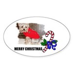MERRY CHRISTMAS YORKSHIRE TERRIER Oval Sticker