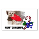 MERRY CHRISTMAS YORKSHIRE TERRIER Sticker (Rectang