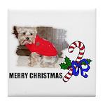 MERRY CHRISTMAS YORKSHIRE TERRIER Tile Coaster