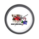 MERRY CHRISTMAS YORKSHIRE TERRIER Wall Clock