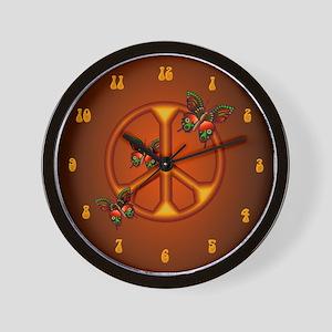 Orange Butterflies Peace Sign Wall Clock