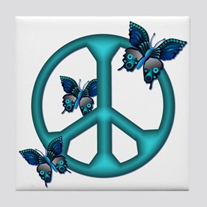 Peaceful Blue Butterflies Pea Tile Coaster