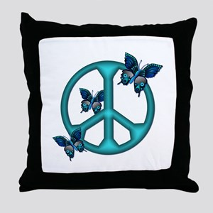 Peaceful Blue Butterflies Pea Throw Pillow