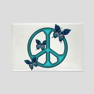 Peaceful Blue Butterflies Pea Rectangle Magnet