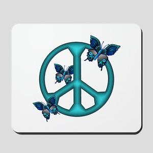 Peaceful Blue Butterflies Pea Mousepad