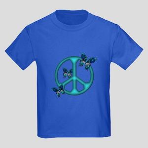 Peaceful Blue Butterflies Pea Kids Dark T-Shirt