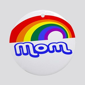 Gay Mom with rainbow Ornament (Round)