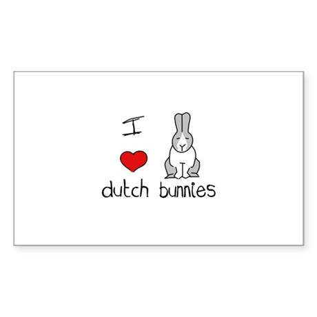 I Heart Dutch Rabbits Rectangle Sticker