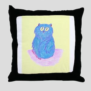 Blueberry Kitten on Lemon Throw Pillow