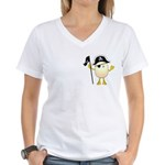 Pirate Egghead Pocket Image Women's V-Neck T-Shirt