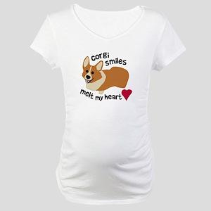 Corgi Smiles Melt My Heart Maternity T-Shirt