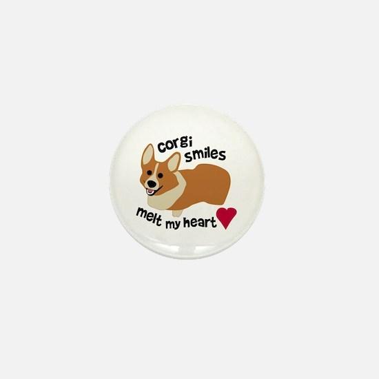 Corgi Smiles Melt My Heart Mini Button
