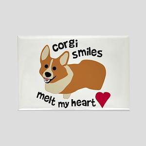 Corgi Smiles Melt My Heart Rectangle Magnet