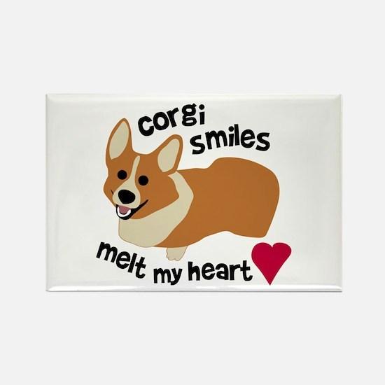 Corgi Smiles Melt My Heart Rectangle Magnet (10 pa