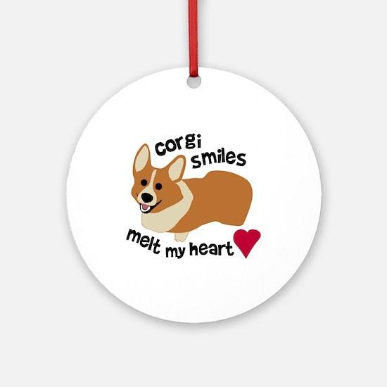 Corgi Smiles Melt My Heart Ornament (Round)