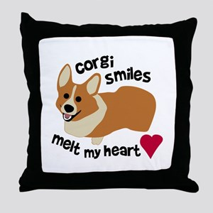Corgi Smiles Melt My Heart Throw Pillow