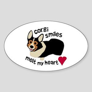 Corgi Smiles BHT Oval Sticker