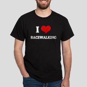 I Love Racewalking Black T-Shirt