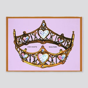 Queen of Hearts Gold Crown Tiara Pink Lilac rug 5'