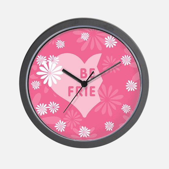 Pink Best Friends Heart Left Wall Clock