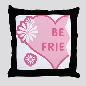 Pink Best Friends Heart Left Throw Pillow