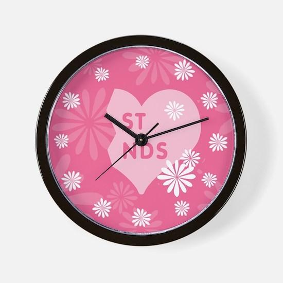 Pink Best Friends Heart Right Wall Clock