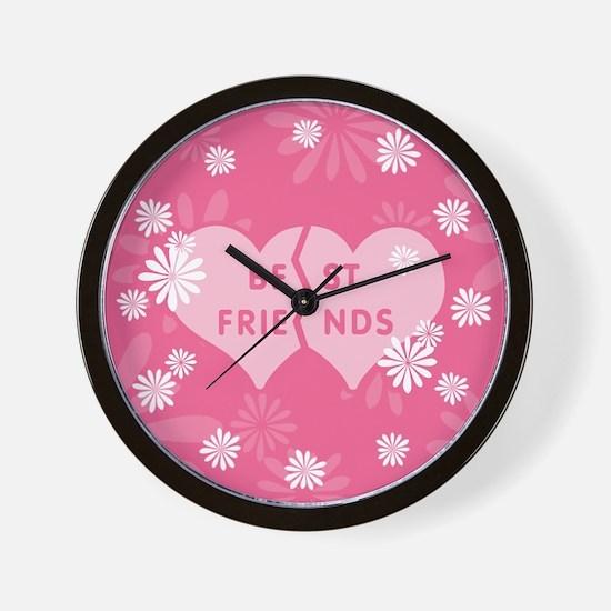 Best Friends Pink Double Heart Wall Clock