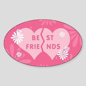 Best Friends Pink Double Heart Oval Sticker