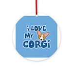 I Love my Pembroke Welsh Corgi Ornament (Round)