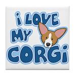 I Love my Pembroke Welsh Corgi Tile Coaster
