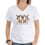 See No Evil Corgi Women's V-Neck T-Shirt