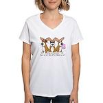 See No Evil Corgi Women's V-Neck T-Shirt