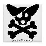 Pirate Corgi Skull Tile Coaster