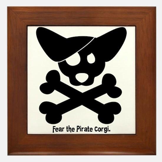 Pirate Corgi Skull Framed Tile